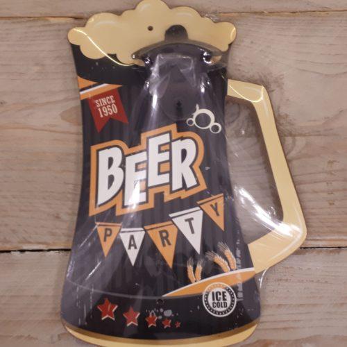 Flesopener voor aan de wand op houten bierpul in zwart