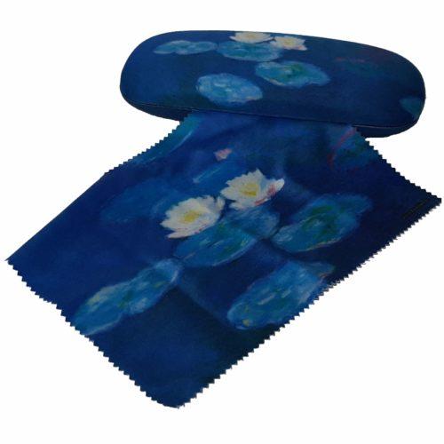 Luxe brillenkoker Claude Monet Waterlelies met poetsdoek