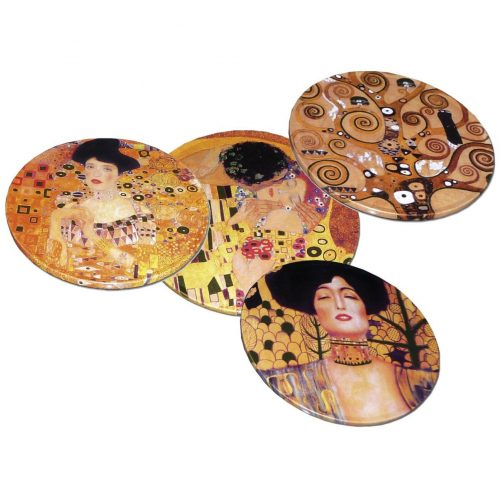 Set van 4 onderzetters in blik Gustav Klimt