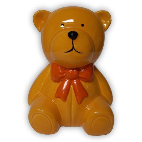 Spaarpot gele teddybeer met oranje strik