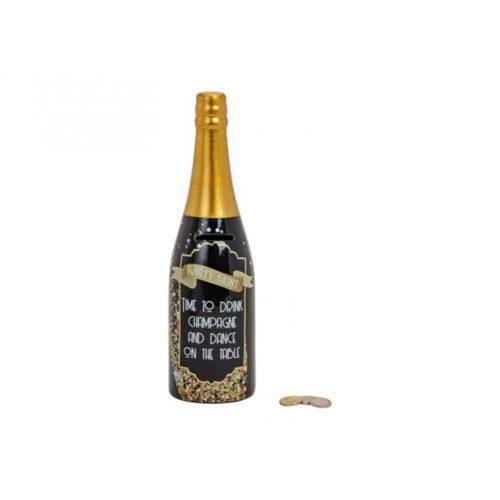 Spaarpot champagnefles party night 30 cm hoog
