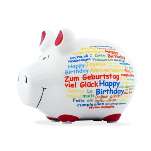 Spaarpot spaarvarken happy birthday in diverse talen
