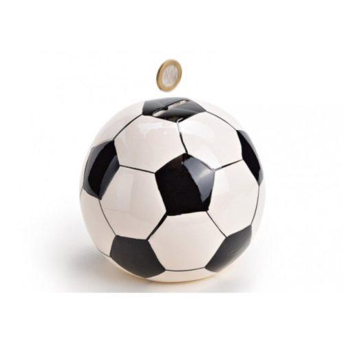 Spaarpot voetbal in zwart wit gemaakt van keramiek