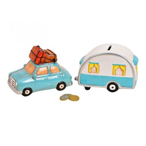 Spaarpot vakantie auto met caravan van keramiek