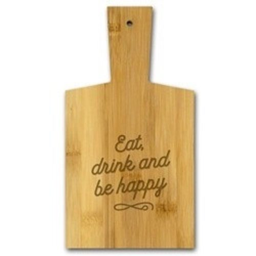 Borrelplank van bamboe met tekst Eat, drink and be happy