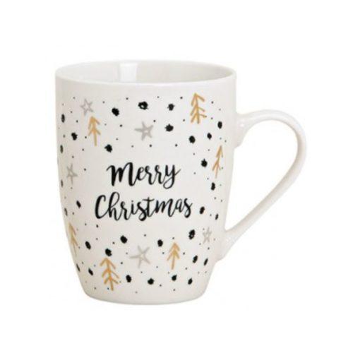 Mok kerst merry Christmas wit goud en zwart