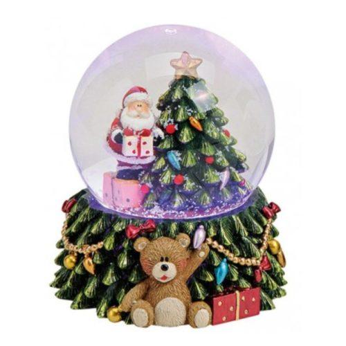 Sneeuwbol kerstboom en kerstman met verlichting