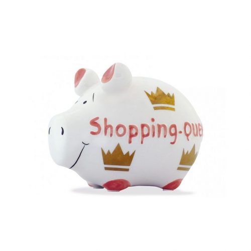 Spaarpot spaarvarken shopping queen wit