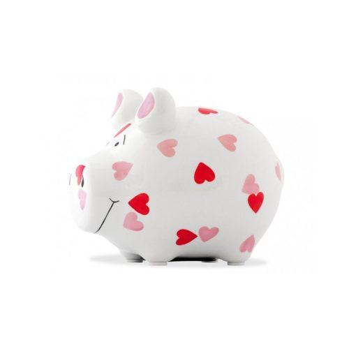 Spaarpot spaarvarken wit met hartjes, liefde of valentijn