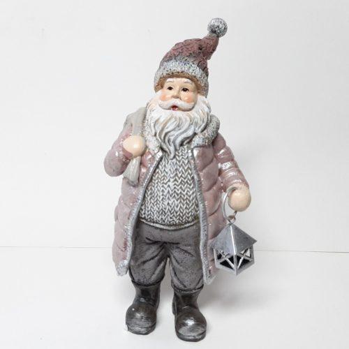 Beeldje Kerstman nostalgisch met lantaarn 20 cm hoog