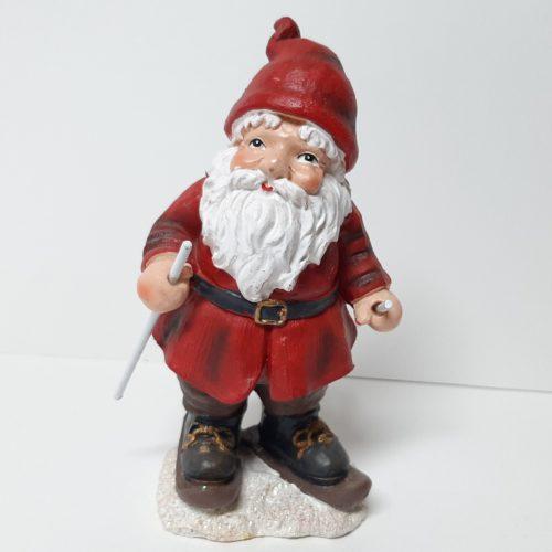Beeldje kerstman op skis en rode jas en muts 18cm