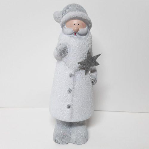 Beeldje witte besneeuwde kerstman met ster 24cm