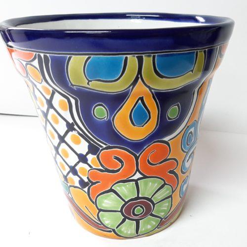 Bloempot bont met de hand beschilderd fairtrade uit Mexico versie2