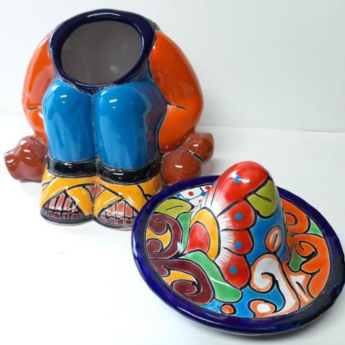 Fairtrade koektrommel bont beschilderd oranje trui gemaakt in Mexico