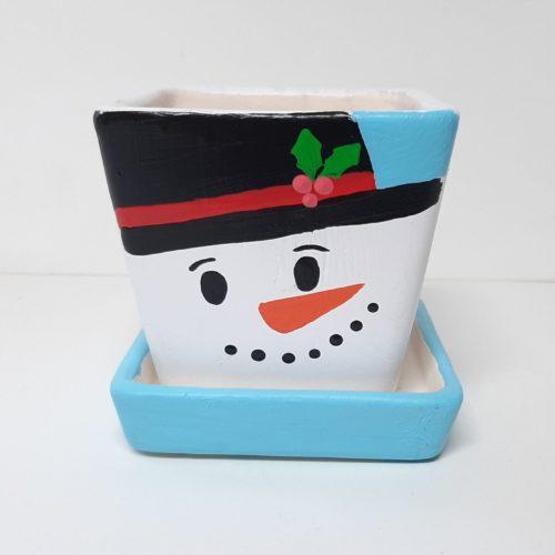 Fairtrade winter of kerst bloempotje waxinelichtje hoofd sneeuwman met schotel vierkant