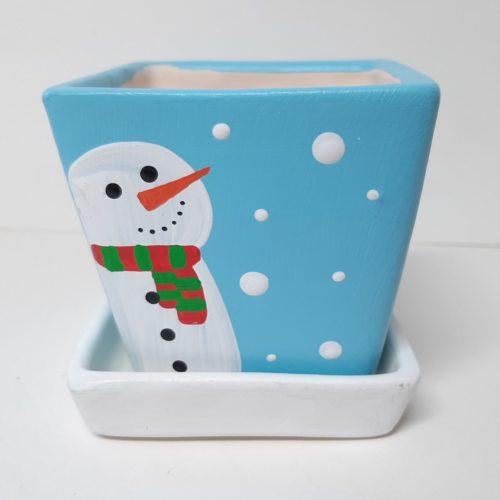 Fairtrade winter of kerst bloempotje waxinelichtje met schotel vierkant