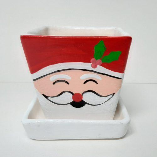 Fairtrade winter of kerst bloempotje waxinelichtje rood-wit met schotel vierkant