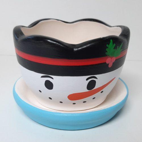 Fairtrade winter of kerst bloempotje waxinelichtje sneeuwpop met schotel rond