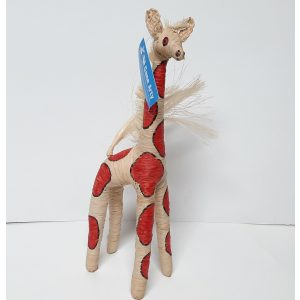 Giraffe 30cm hoog creme en rood fairtrade gemaakt van raffia in Madagaskar