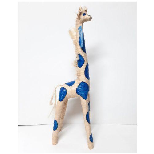 Giraffe 60cm hoog creme en blauw fairtrade gemaakt van raffia in Madagaskar