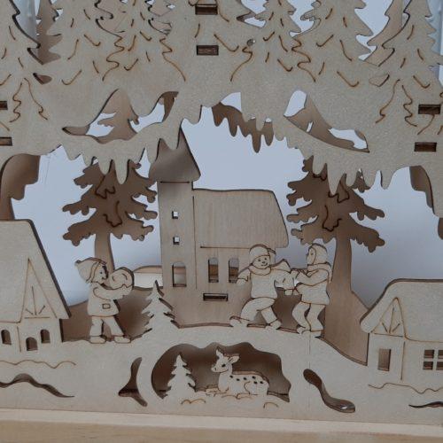 Houten decoratieboog raamdecoratie kerstbomen en kerst dorp met ledverlichting