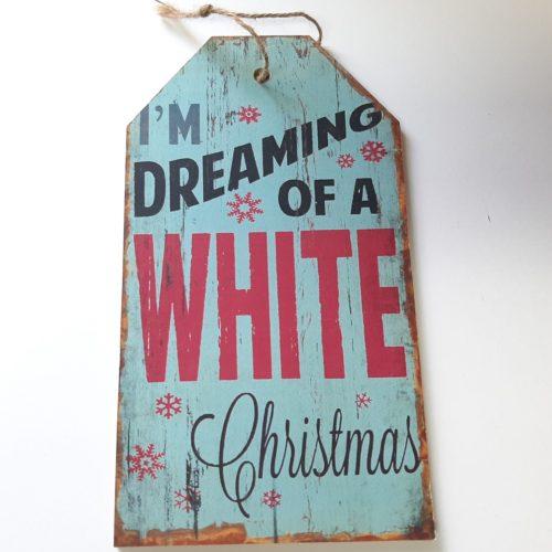 Houten tekstbord kerst lichtblauw White Christmas