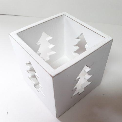 Houten windlicht of waxinelicht houder kerst kerstbomen whitewashed