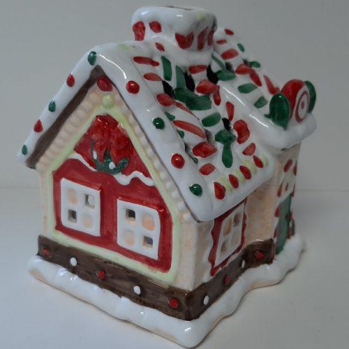 Waxinelicht houder kerst koek huisje van keramiek wit groen rood
