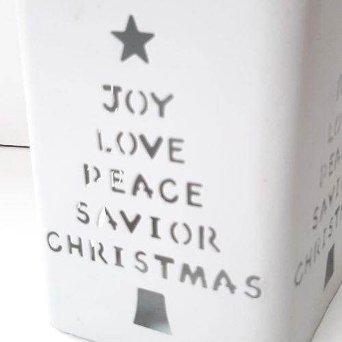 Wit metalen windlicht kerst met hengsel en opdruk kerst