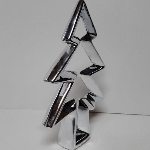 Zilverkleurige kerstboom contour gemaakt van keramiek 18cm