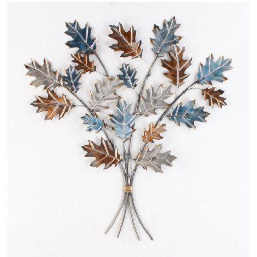 Wand decoratie takken met eiken bladeren in grijs blauw en bruin