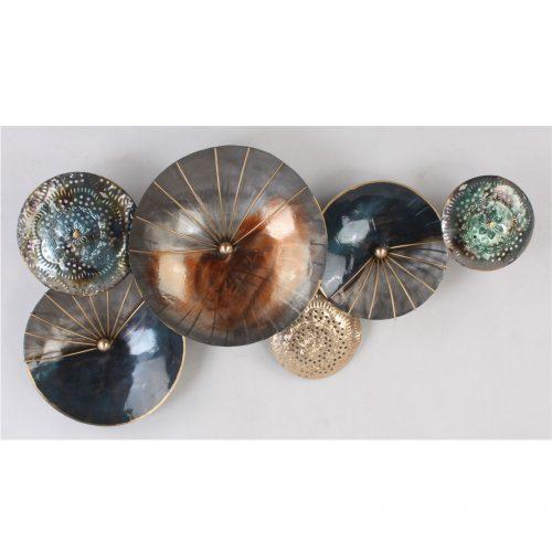 Wandbord metaal abstract met cirkels in koper en grijs-zwart tinten