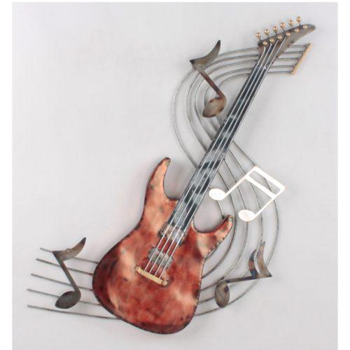 Wandbord metaal elektrische gitaar op notenbalk