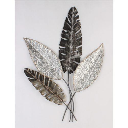 Wandbord metaal tak met bladeren in zwart grijs en zilver kleur