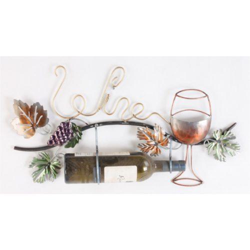 Wandbord van metaal Wine met tekst druivenrank glas en plaats voor fles