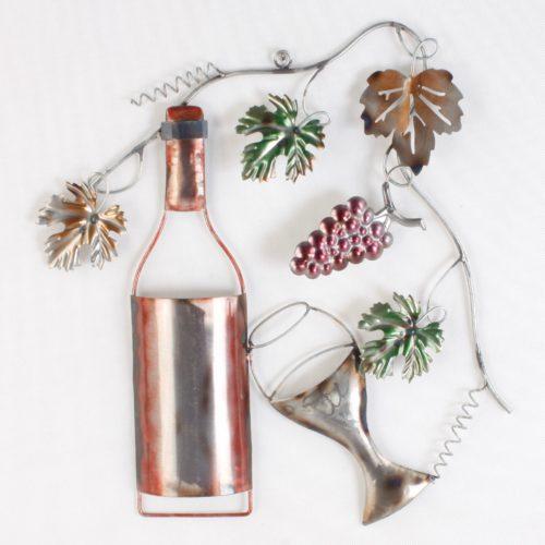 Wandbord van metaal wijn met druiven en wijnrank