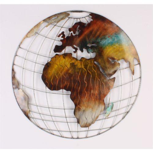 Wandbord wereldbol rond van metaal in aardetinten