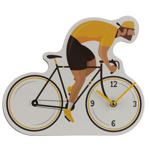 Wandklok fiets wielrenner met gele trui