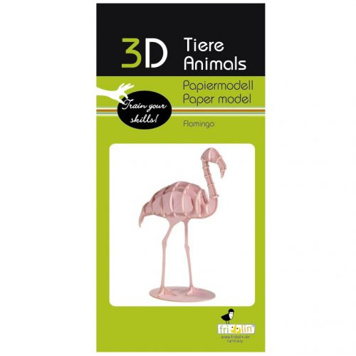 3D puzzel en bouwpakket flamingo van karton