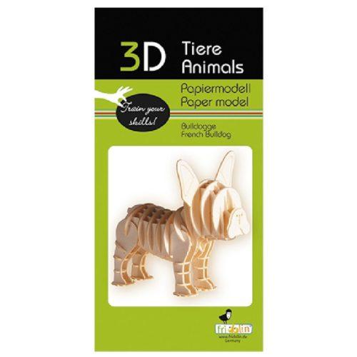 3D puzzel en bouwpakket hond Bulldog van karton