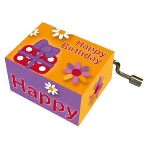 Muziekdoosje verjaardag bloem en cadeau melodie Happy Birthday