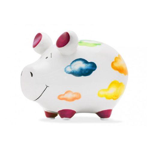 Spaarpot spaarvarken wit met vrolijke wolkenprint