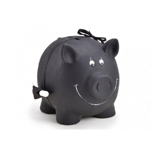 Spaarvarken zwart beschrijfbaar met schoolkrijt