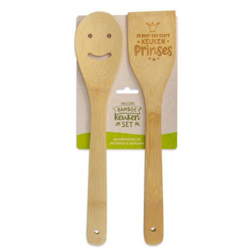Bamboe keukenset met tekst Jij bent een echte keuken prinses