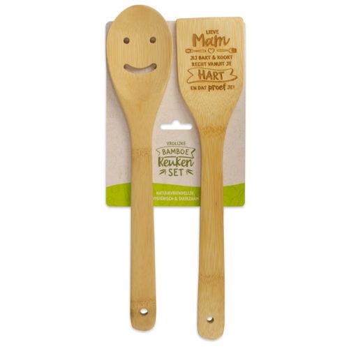 Bamboe keukenset met tekst Lieve mam jij kookt en bakt recht vanuit je hart