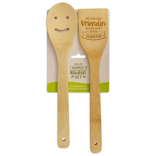 Bamboe keukenset spatel en lepel