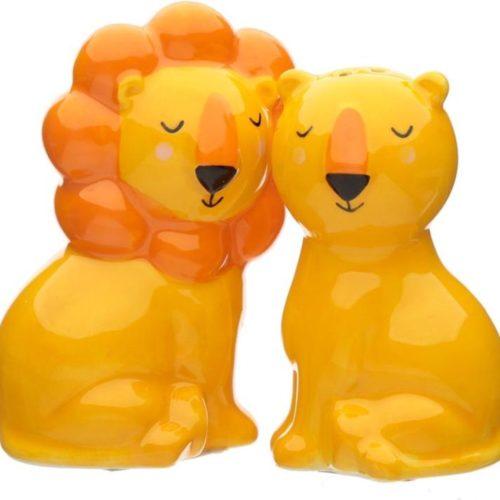 Peper en zout stelletje leeuw en leeuwin