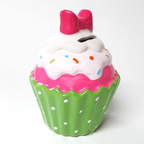 Spaarpot Sundae ijscup type A groene cup witte stippen roze ijs roze topping en roze strik