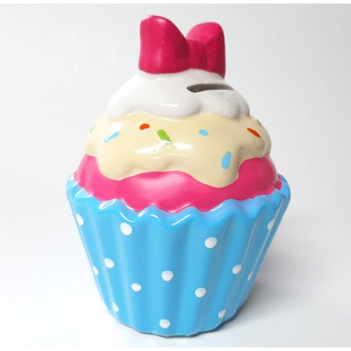 Spaarpot Sundae ijscup type C blauwe cup witte stippen roze ijs gele topping en roze strik