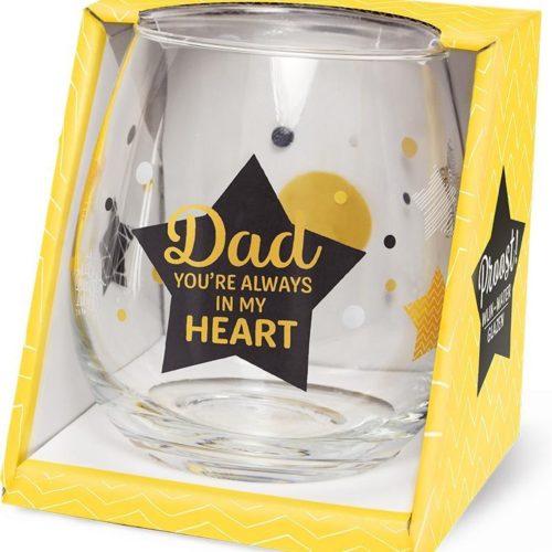 Water- wijnglas met tekst DAD you're always in my heart